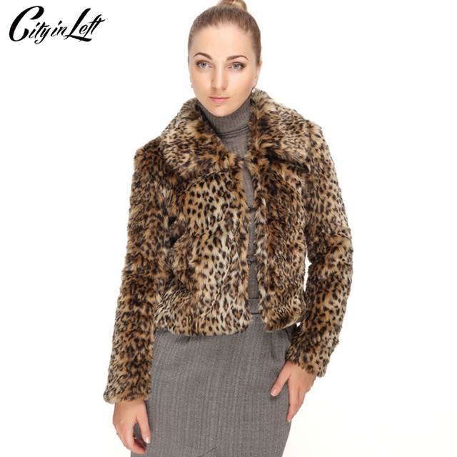 c09cb35f5e9d City in Left Winter 2018 Women Custom Made Luxury Faux Fur Jacket Thick  Warm Faux Fur Short Leopard Coat Fashion Outwear CIL712