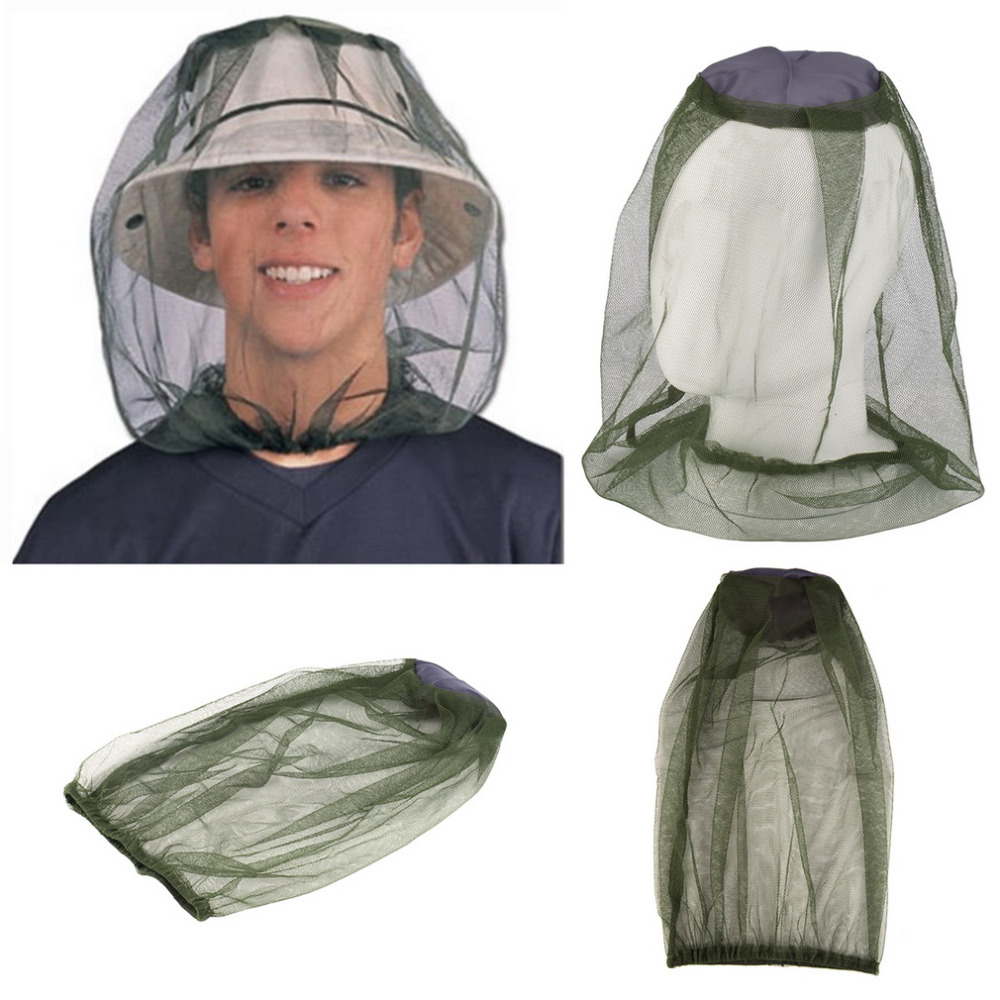 Camping Mosquito Head Net Bee Bug Insect Hat Fishing Mesh Face Protector Cap
