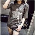 Camisa da forma T para Mulheres Bling Bling Strass Diamantes Estrela De Lantejoulas Brilho Tee Top Ladies Manga Curta Tshirts Verão