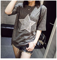 Fashion T Shirt for Women Bling Bling Rhinestone Diamonds Sequin Star Glimmer Tee Top Ladies Short Sleeve Summer Tshirts