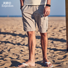 Enjeolon 2019 Summer Mens Shorts Casual Pocket Camo Knee-length Mens Cargo Shorts Streetwear Plus Size KZ6352 plaid knee length casual mens shorts