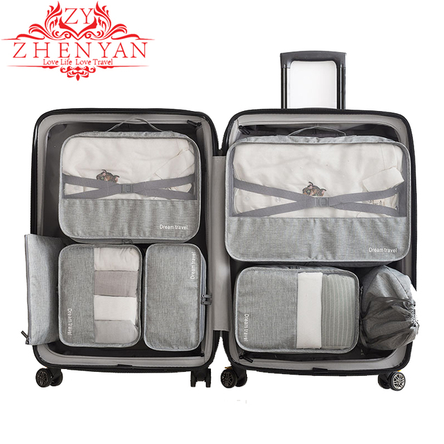 ec235e9594c7 US $18.86 25% OFF|New brand 7 pcs set Travel Luggage Organizer For Clohtes  Underwear Shoe Wardrobe Stuff Categories Storage Bag Tidy Pouch Case-in ...