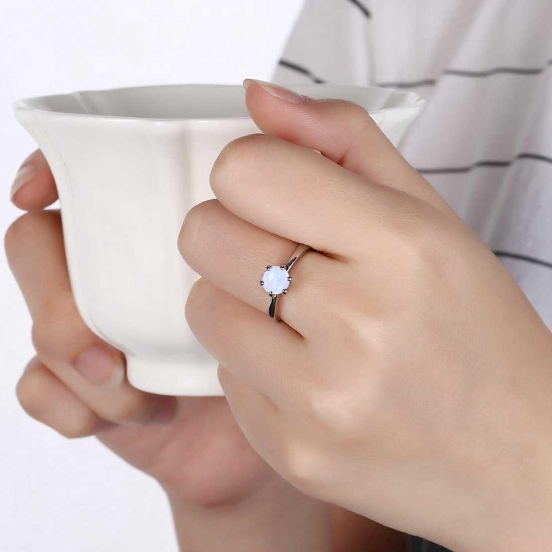 Jiayiqi 2018 Mode Silber Farbe Halskette Ohrringe Ring Opal Schmuck Sets Für Frauen Runde Form Anhänger Kette Hochzeit Schmuck