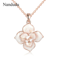 Nandudu New Arrival Blooming Flower Pendant Necklace Women Girl Chain Camellia Necklaces Gift For Wedding Engagement