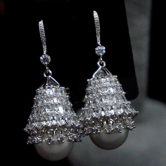 High quality 925 Sterling Silver Earrings big palace retro pearl inlaid CZ Earrings female micro accessories
