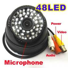 1/3″ 1000TVL CMOS IR Dome Color CCTV Security Camera 48 Leds IR Audio MIC Indoor D/N