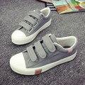 Mulheres Lona Moda Shoes Hook & Loop Sapatos Da Moda Mulher Baixa Top Sólida Respirável Sapatos Casuais Tamanho 35-40