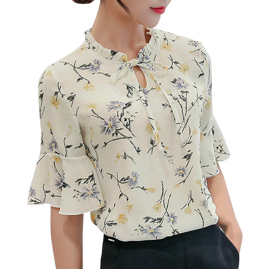 CHAMSGEND Women Chiffon   Blouse     Shirt   2019 Summer Work Office Flare Sleeve Bow Tie Floral Print Chiffon Tee   Shirt   Top Mar13