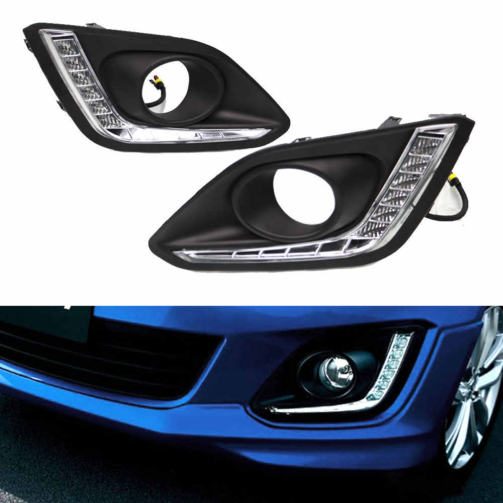 Daytime Running Light DRL  for Suzuki Swift 2014 2015 2016 Left and Right Fog Light Cover 12v White DRL Waterpfoof