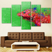 Modern Decoration For Home Living Room Wall 5 Pieces Lizard Body Fade Away Painting Art Canvas Pictures Modular Poster HD Prints(China)