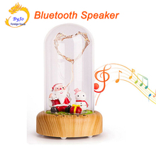 Christmas Gift Bluetooth Speaker LED Wishing Speaker Streaming Bottle Music Santa Claus Eteral Flower Portable Stereo Bass
