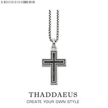 Black Cross Pave Necklace,2017 Brand Ts Strand Fashion Jewelry Thomas 925 Sterling Silver Rebel Cross Bijoux Gift For Men Women(China)