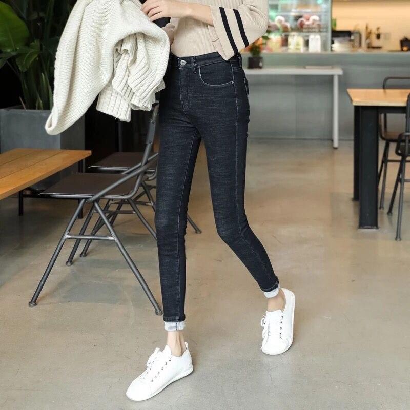 high waist warm jeans for women plus size korean oversized jeans woman skinny long trousers fashion blue pant 2019 winter 5XL
