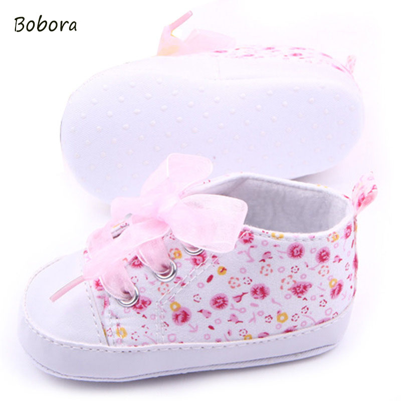 Baby Shoes Girls Cotton Floral Infant Soft Sole Baby First