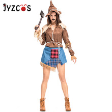 JYZCOS Adult Fairy Tale The Wizard of OZ Costume Scarecrow Cosplay Carnival Purim Halloween Costumes for Women