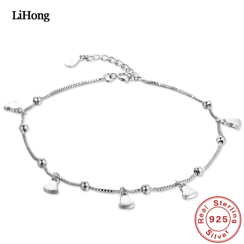 Solid Silver 925 Silver Anklet Woman Heart Pendant 100% 925 Sterling Silver Anklet Summer Fashion Jewelry