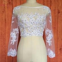 Walk Beside You Jacket Wedding 3/4 Long Sleeves Lace Beaded Wedding Boleros Shrug Bridal Wraps Shrugs Wedding Accessories