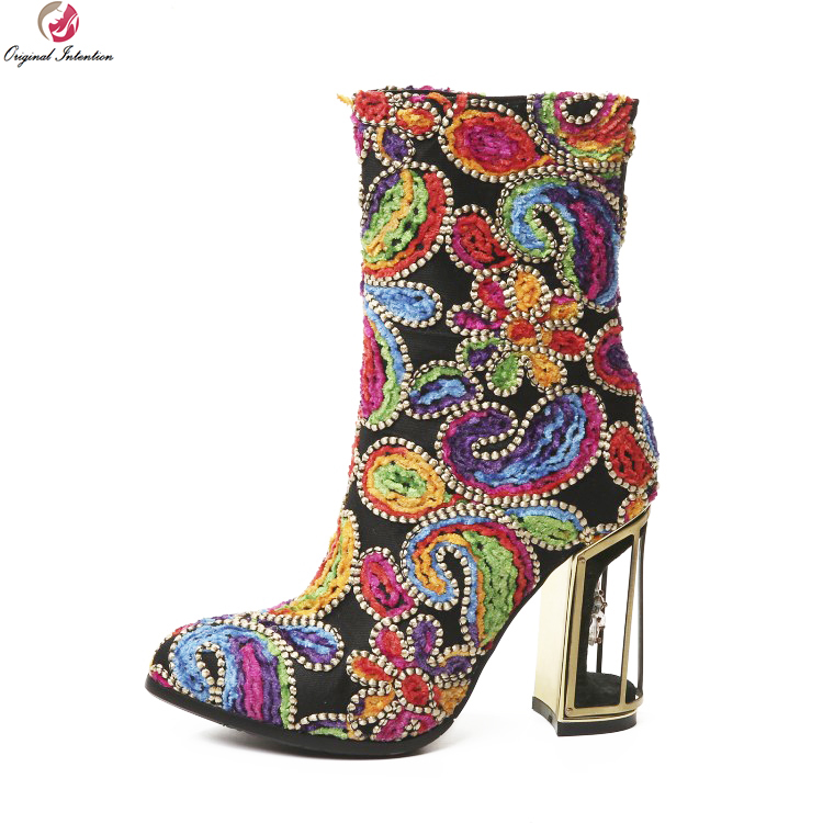Original Intention Super Fashion Women Ankle Boots Round Toe Square High Heel Boots Red Green Shoes Woman Plus US Size 3-10.5 women platform square high heel ankle boots fashion side zipper round toe shoes woman black white beige