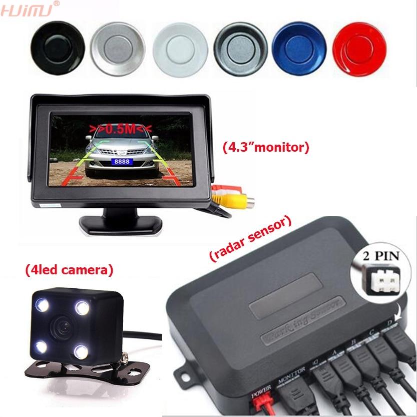 3в1 Автомобильный датчик парковки 4,3 дюймов настольный автомобильный парковочный монитор + 4LED ночного видения автомобиля заднего вида камер...