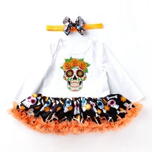 Newborn Girls Skull Halloween Costumes Pumpkin Cosplay Outfits Romper with Tutu Bodysuit and Headband 2pcs Festival Clothing(China)