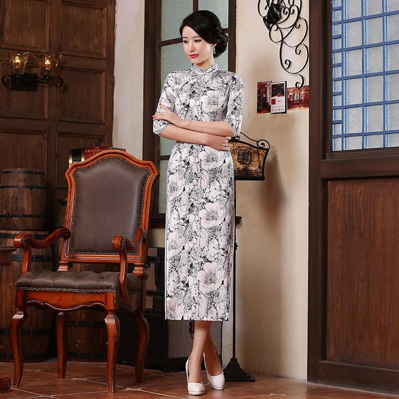 c11ef16bf2a13 Shanghai Histoire Traditionnelle Chinoise Robe de Soirée Longue Robe Qipao  Fleur imprimer Vintage Moyen Parti Manches Cheongsam Pour Les Femmes