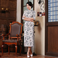 Spring Autumn Chinese Traditional Dress Long Evening Dress Qipao Flower print Vintage Middle Sleeve Party Cheongsam For Women