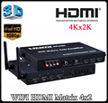 2.4G/5G WIFI HDMI Matrix 4x2 + Amplifier 4Kx2K HDMI Switcher For IOS Android WIFI display Bass speaker