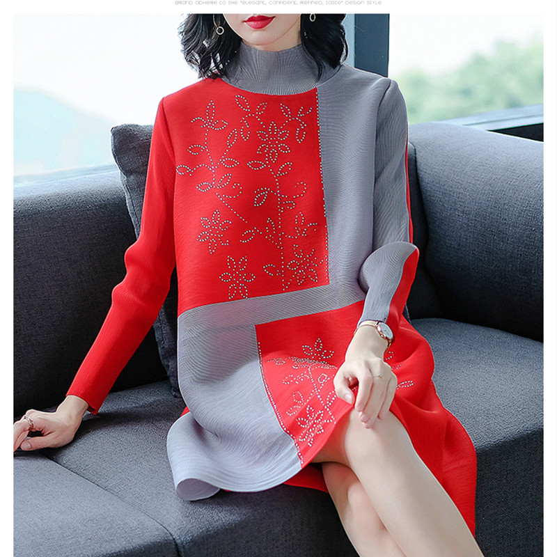 Azterumi Special Pleats Spring New 2019 Women Stand Collar Dress Large  Size Casual Loose Patchwork  Dresses For Women Black Red