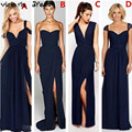 Vestido Madrinha Sexy Navy Blue Bridesmaid Dresses Cheap Zipper Chiffon African Bridesmaids Dresses Long Vestidos De Madrinh