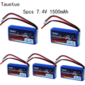 5pcs Taotuo lithium Lipo Battery 7.4V 1500mAh 2S 20C JST For WLtoys Q212G V912 V262 A949V V913 L959 RC Helicopter Boat HQ955 Toy