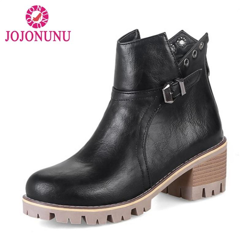 JOJONUNU Size 34-43 Fashion Women Ankle Boots Zipper Buckle Plush Fur Warm Shoes Woman Autumn Winter Booties Female Footwwear
