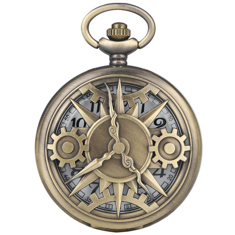 Special Hollow-out Gear Clock Pattern Pocket Watch For Women Men Classic Alloy Link Quartz Pocket Watch Retro With Necklace