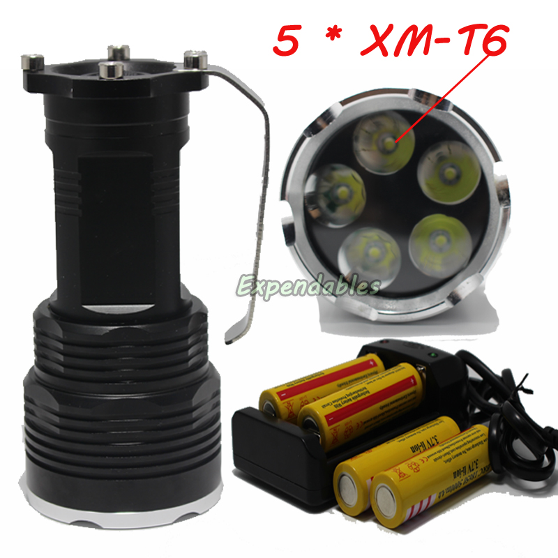 7000lumens 5 * XM-T6 LED Flashlight Spotlight coal mine portable lamp searchlight 18650 camping fishing lights+4*battery charger coal player battery 503040 550mah