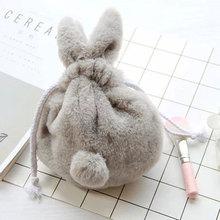 Cute Rabbit Plush Purses For Kids Soft Cosmetic Storage Bag For Women Girls Kawaii Plush Bag Toys For Kids