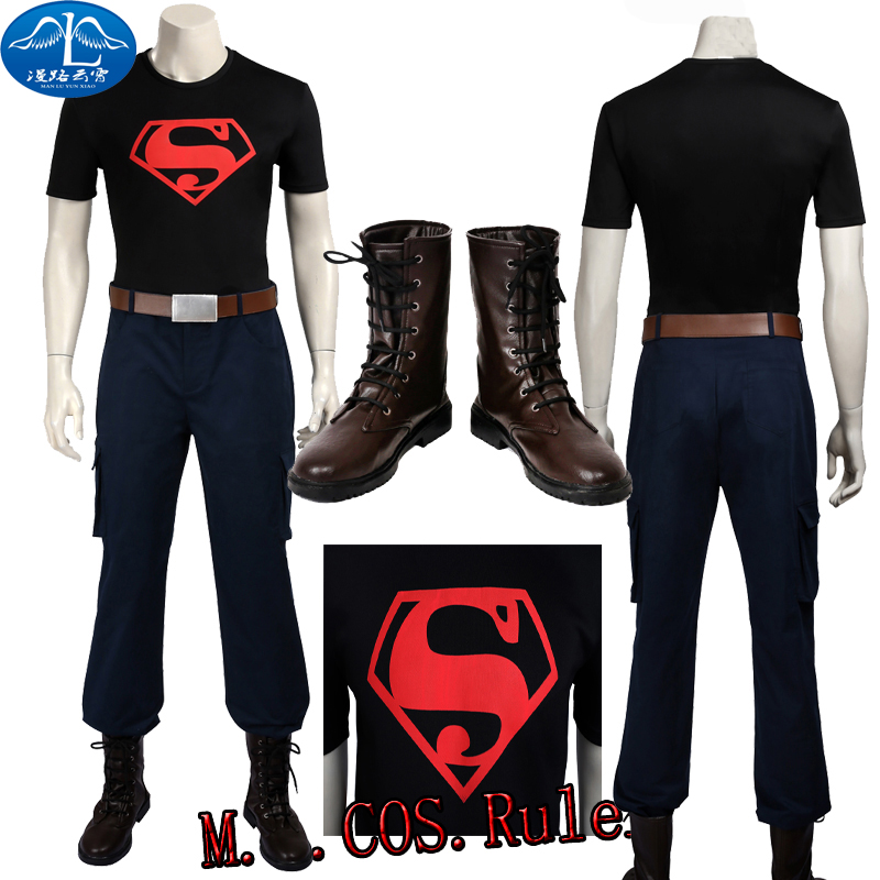 Newest Young Justice Superboy Cosplay Costume Superman Custom Size Full Suit With Boots