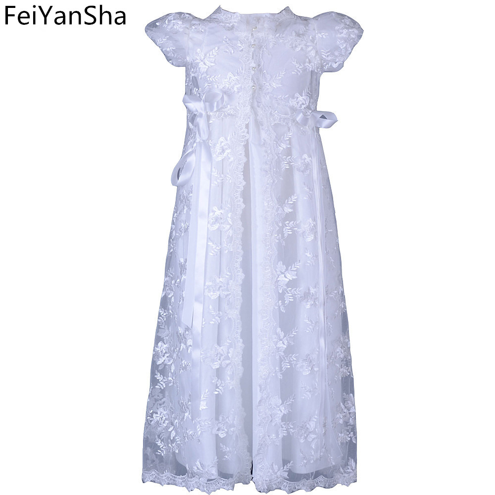 FeiYanSha Hot Sale Ivory color and To the Length of the New Birthday Baby Dress Baby Girl Christening Gowns Baby Girl Baptism Dr with hat baby christening gown to the length of the new white summer style baby girls dress baby girl christening gowns vestidos