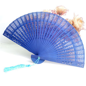 Blue Color Wood Folding Fan Wi
