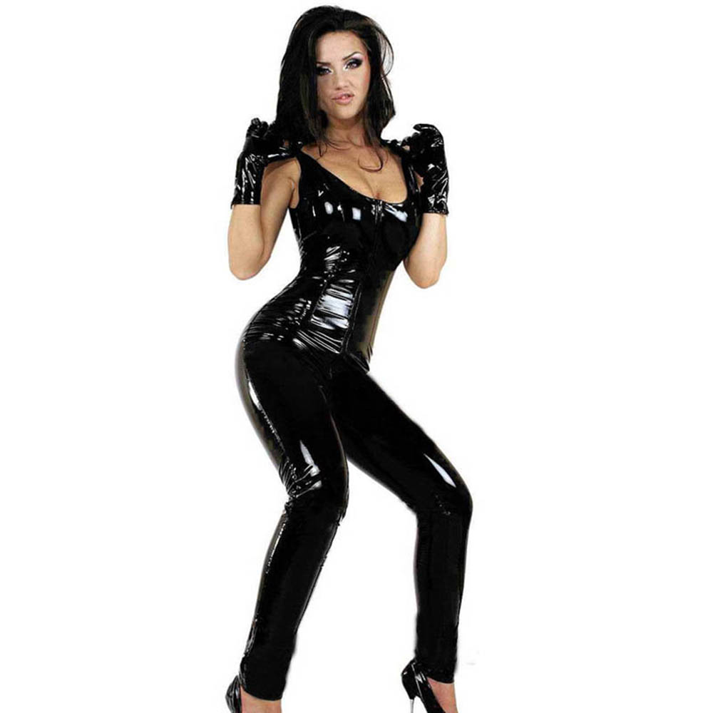 HU&GH Latex Sleeveless Long Catsuit Faux Leather Jumpsuit Zipper to Crotch Stretchy Clubwear Leotard Vinyl Costumes with Gloves
