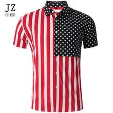 Men Shirt Short Sleeve Button Down Print Man Hawaiian Beach Shirts Casual Slim Fit Striped Social American Flag