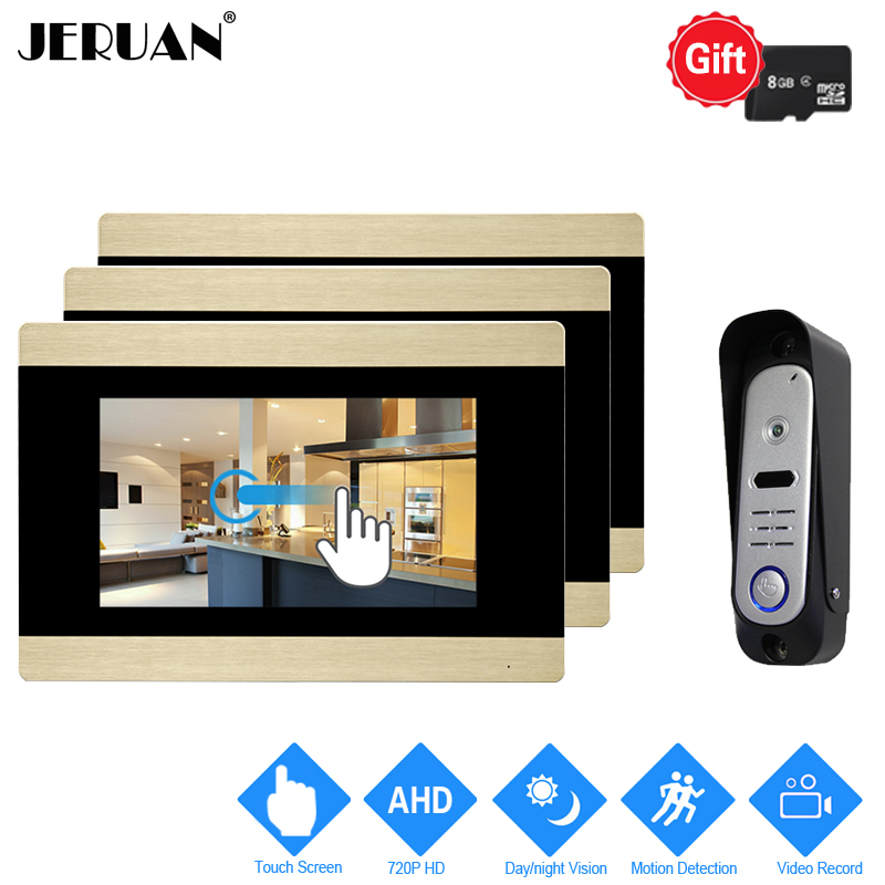 JERUAN 7`` Touch Screen Video Door Phone Intercom System 720P AHD Motion Detection 3 Record Monitor+ 1 HD Waterproof Camera 1V3 jeruan home 7 video door phone intercom system kit rfid waterproof touch key password keypad camera remote control in stock