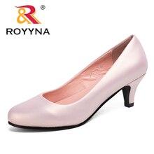 ROYYNA zapatos de tacón de talla grande para mujer, moda Sexy, punta redonda, coloridos, dulces, zapatos suaves para mujer, primavera y otoño, Envío Gratis