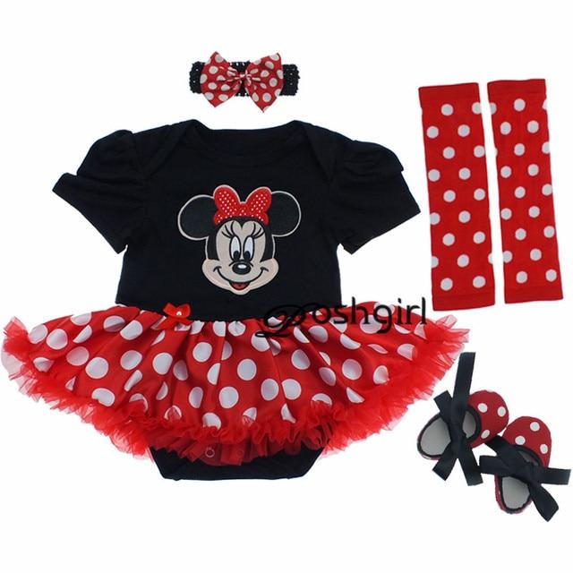 Baby Girl Clothing Set 2017 Clothes Cartoon Minnie Mickey Infant Girl Ruffled Tutu Dress roupa infantil menina Newborns Clothing