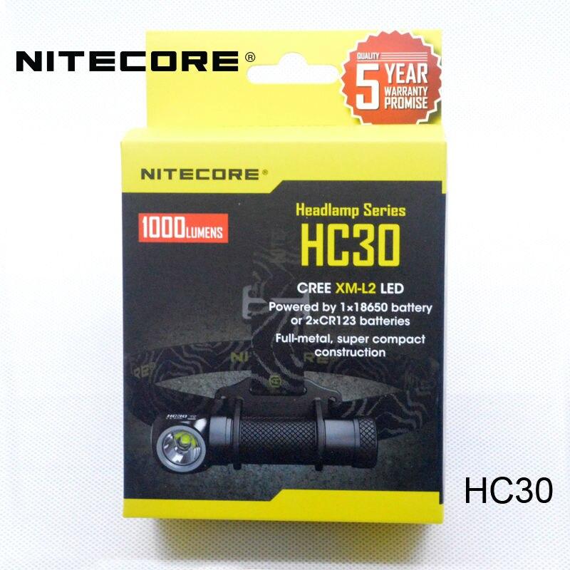 Nitecore HC30 Led Headlamp CREE XM L2 U2 1000 Lumens Full Metal Uniboy Wide beam Optics