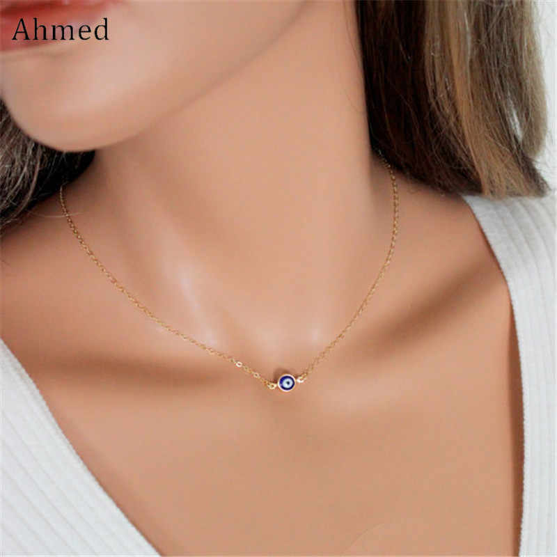 Ahmed Simple Turkey Blue Eyes Pendant Necklace For Women New Bijoux Maxi Statement Necklaces Collier Fashion Jewelry