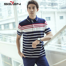 Seven7 Brand Classic Stripes Comfort Polo Shirt Casual Fashion Men Short Sleeve Polo Shirt Mercerized Cotton Polo 112T50150