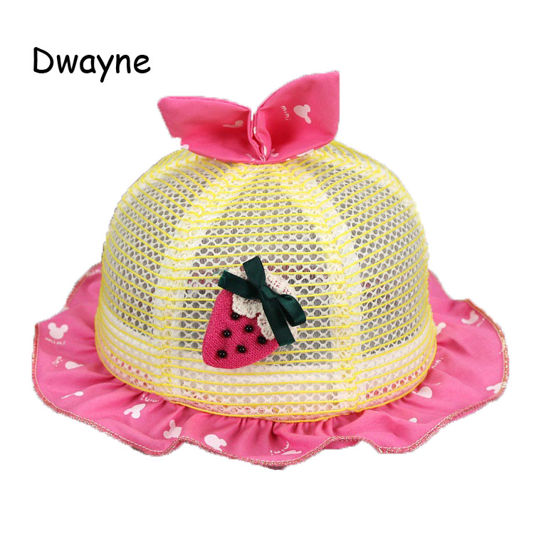 Baby Girls Mesh Sun Hats Kid Child Strawberry Design Flounce Rabbit Ear Caps Summer Sun Protective Hat MZ4816