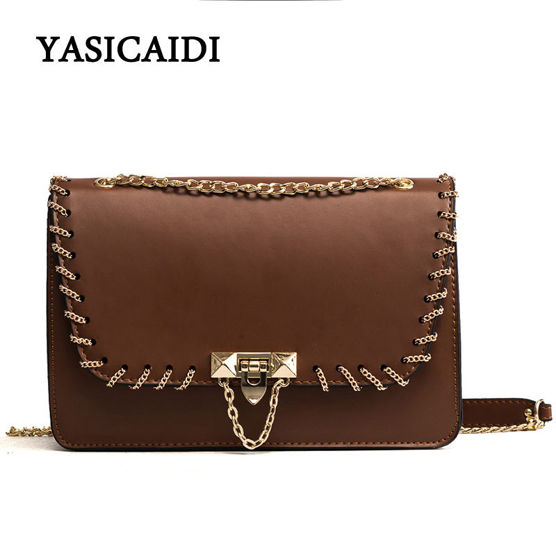Fashion Pu Leather Women Messenger Bag Chain Rivet Shoulder Bags Small Patchwork Women Messenger Bags Long Chain Bags elegant yuanyu 2018 new hot free shipping import crocodile women chain bag fashion leather single shoulder bag small dinner packages