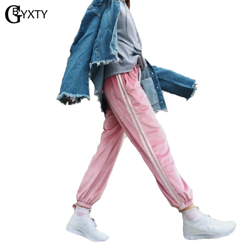 GBYXTY Casual Hippie Cargo   Pants   Women Summer Striped Loose Elastic Waist Drawstring Satin   Pants   Trousers Sweatpant   Capris   ZA600