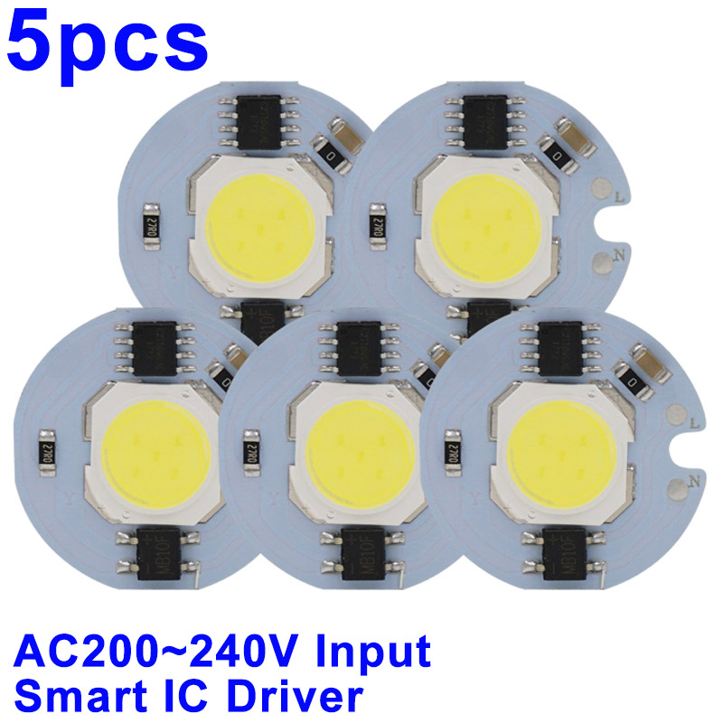 5pcs LED COB Chip light 9W 7W 5W 3W 220V 230V 240V Input Smart IC Driver Fit For DIY Cold Warm White LED Spotlight Floodlight lan mu 10 pcs led cob chip 50w 40w 30w 20w 10w ac 220v 110v no need driver smart ic bulb lamp for diy led floodlight spotlight