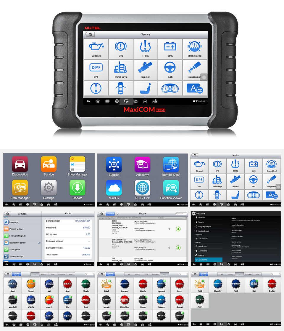 Autel Maxicom MK808 Auto Diagnostic Tool Auto Scanner Engine Analyze Tool Alle Systeem Obd 2 Olie Reset Epb Dpf Tpms key Programmeur